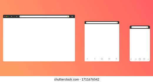 Browser mockup for computer, tablet and smartphone. Modern design of internet page in flat layout. Navigation search field with secure lock icon and favorites star. Vector EPS 10.