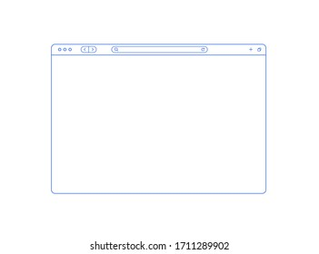 Browser mockup outline for show your website. Internet page concept for desktop, pad and smartphone. Empty browser window in line style isolated on white. Webpage user interface.