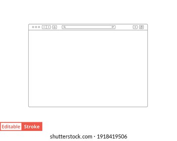 Browser mockup outline for website. Empty browser window in line style. Vector illustration isolated on white background. Webpage user interface, desktop internet page concept. Editable stroke EPS 10
