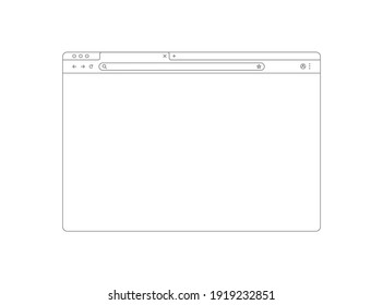 Browser mockup outline for website. Empty browser window in line style. Vector illustration isolated on white background. Webpage user interface, desktop internet page concept. EPS 10