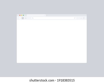 Browser mockup for website. Empty browser window in flat style. Vector illustration isolated on dark background. Webpage user interface, desktop internet page concept. EPS 10
