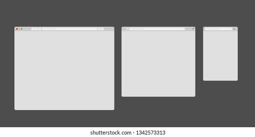 Browser mockups. Website different devices web window mobile screen internet flat template empty page network row vector set