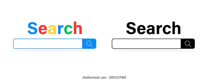 Browser search bar for UI. Internet window. Vector on isolated white background. EPS 10