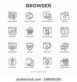Browser thin line icons set: add-ons, extension, customize browser, sync between devices, bookmark, private, ad blocking, password manager, smart shopping, surfing internet. Vector illustration.