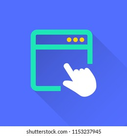 Browser vector icon with long shadow. Illustration isolated on blue background for graphic and web design.