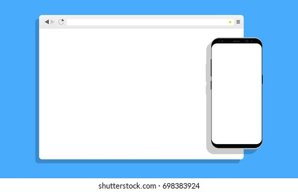 Browser window with cellphone Samsung Galaxy S8 on blue background. Concept for display responsive web-design in modern flat style. Vector illustration