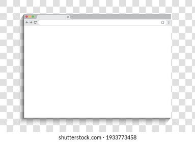Browser window design isolated on transparent background. Web window screen mockup. Internet empty page concept with shadow. Vector illustration