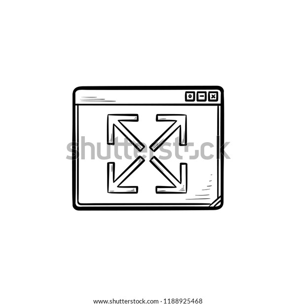 Browser Window Expansion Hand Drawn Outline Stock Vector (Royalty