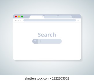 Browser window.Web browser in flat style. Window concept internet browser. Mockup screen design. Vector illustration concept. Webdesign for searching SEO concept with software screen, find information