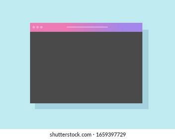 Browser window icon vector with empty blank web page flat cartoon, illustration internet website template isolated modern colorful design