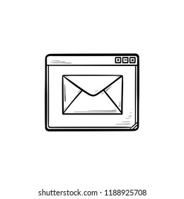 Browser window with message hand drawn outline doodle icon. Email service and webpage, receive email concept. Vector sketch illustration for print, web, mobile and infographics on white background.