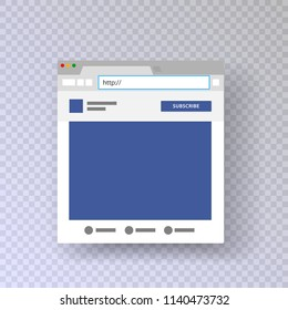A browser window with an open social network profile. Place for website address. Mock up for photo frame based on social network. vector illustration isolated on transparent background.