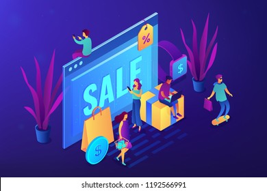 Browser window with sale and buyers with gadgets shopping online. Online sales pro, online coupon and special offer, cash back and discount concept. Ultraviolet neon vector isometric 3D illustration.