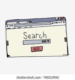 Browser window with search bar. Hand drawn vector stock illustration.