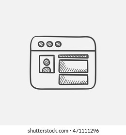 Browser window with social network internet page sketch icon for web, mobile and infographics. Hand drawn vector isolated icon.