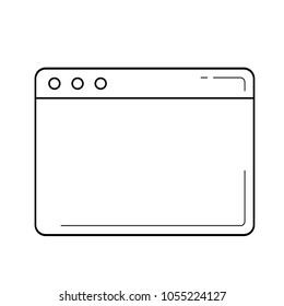Browser window vector line icon isolated on white background. Web browser window line icon for infographic, website or app.