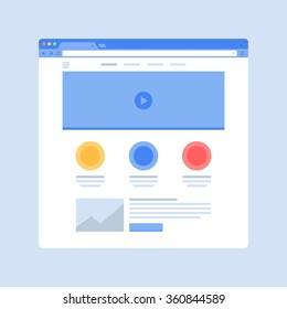 Browser window with website page template. Web page wireframe