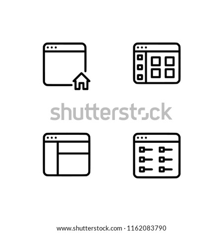 Browser Windows Applications Set Outline Icon Stock Vector (Royalty