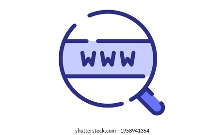 browsing world wide web search internet single isolated icon with dash or dashed line style