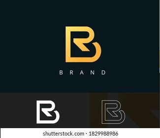 Br,r,rb logo,b and rb. modern luxury monogram minimal symbol royal gold simple icon initial letter logo