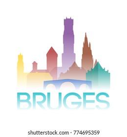 Bruges Belgium Icon Silhouette Gradient Design City Vector Art