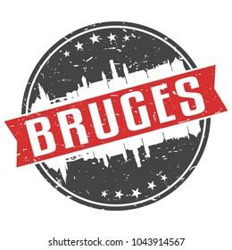 Bruges Belgium Round Travel Stamp Icon Skyline City Design Seal Badge Illustration.