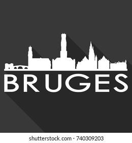 Bruges Flat Icon Skyline Silhouette Design City Vector Art Famous Buildings
