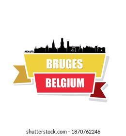 Bruges skyline Belgium cityscape - vector illustration