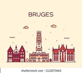 Bruges skyline,  West Flanders, Belgium. Trendy vector illustration, linear style