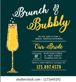 Brunch and Bubbly invitation. Bridal shower.