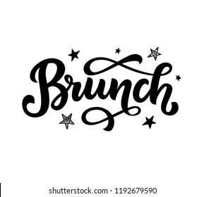 Brunch calligraphy vector logo badge, hand written modern lettering. Elegant logotype for menu, invitation, social media. Vintage retro style.