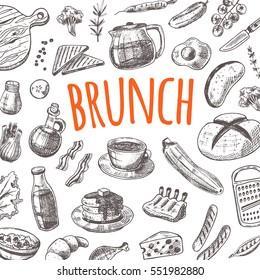 Brunch card with elements of kitchen. Hand drawn vector illustration. Can be used for menu, cafe, restaurant, bar, poster, banner, emblem, sticker, placard and other design.
