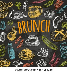 Brunch card with elements of kitchen. Hand drawn vector illustration on the chalkboard. Can be used for menu, cafe, restaurant, bar, poster, banner, emblem, sticker, placard and other design.