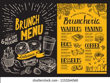 Brunch menu. Food flyer for restaurant and cafe. Design template with vintage hand-drawn illustrations.