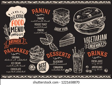 Brunch menu template for restaurant on a blackboard background vector illustration brochure for gourmet food and drink cafe. Design layout with vintage chefs hat lettering and hand-drawn graphic.