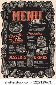 Brunch menu template for restaurant on a blackboard background vector illustration brochure for food and drink cafe. Design layout with vintage lettering and frame of hand-drawn graphic vegetables.