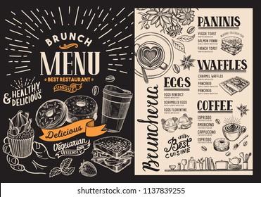 Brunch restaurant menu. Vector food flyer for bar and cafe. Design template on blackboard background with vintage hand-drawn illustrations.