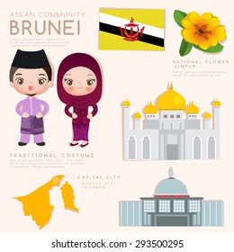 Brunei : Asean Economic Community (AEC) Infographic with Traditional Costume, National Flower and Tourist Attractions : Vector Illustration EPS10