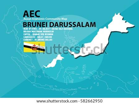 Brunei Darussalam World Map Brunei Darussalam Stock Vector Royalty