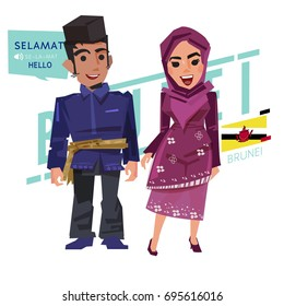 Brunei male and female in traditional costume with flag and how to say greeting. - vector illustration