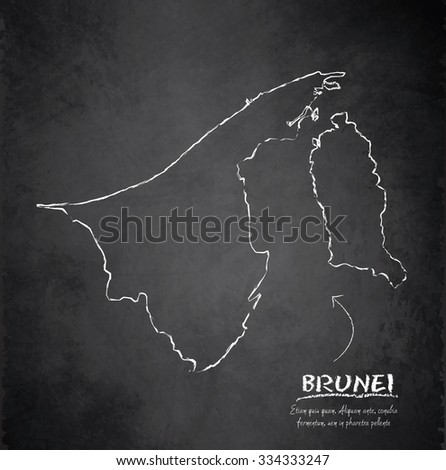 brunei map blackboard chalkboard vector stock vector royalty free