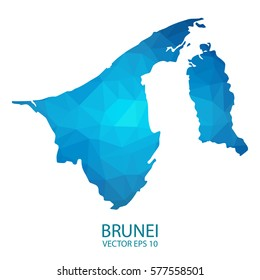 Brunei map - blue geometric rumpled triangular low poly style gradient graphic background , polygonal design for your . Vector illustration eps 10.