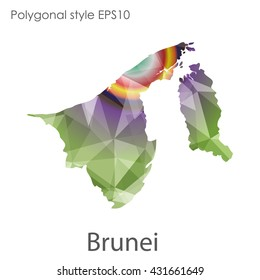 Brunei map in geometric polygonal style.Abstract gems triangle,modern design background.