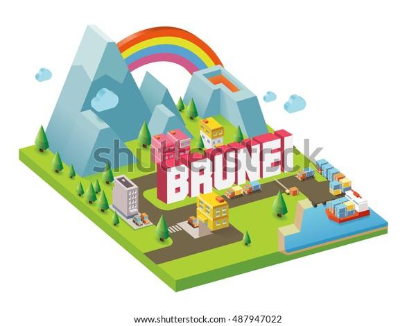 Brunei One Beautiful Country Visitvector Illustrator Stock