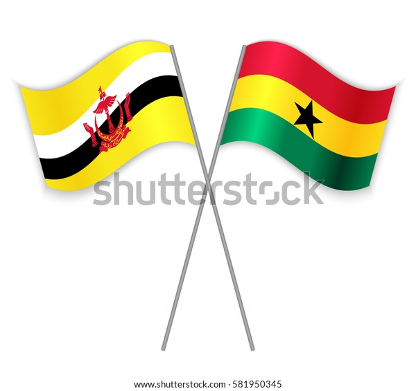 Bruneian and Ghanaian crossed flags. Brunei combined with Ghana isolated on white. Language learning, international business or travel concept.