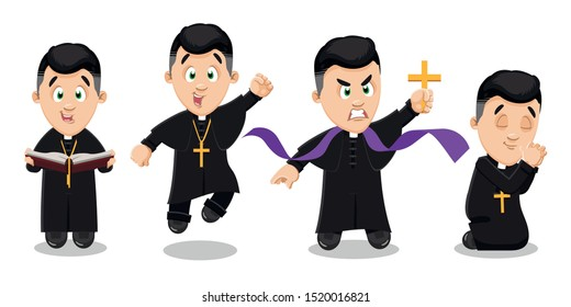 Brunet man, catholic priest in black cassock with pectoral cross on breast reading sermon, preaching, jumping for joy, is kneeling with folded hands in prayer, cast out devil. Vector set on white.