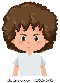A brunette boy curly hairstyle illustration