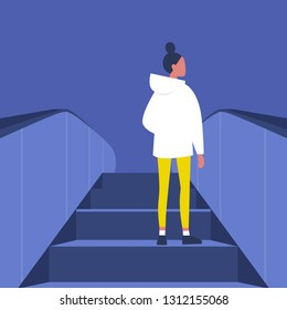 Brunette female Character going up on the escalator. Metro. Subway station. Shopping mall. Flat editable vector illustration, clip art