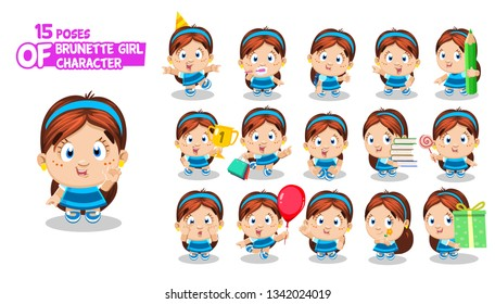 Brunette girl with freckles in blue dress. Child in different poses and situations: celebrates, dances, shops. Full length front and three quater view. Ready to use cartoon set isolated on white.