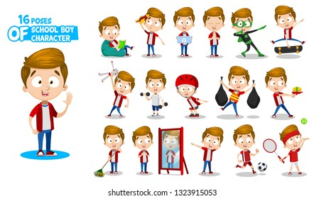 Brunette schoolboy in red shirt and jeans. Full length front and three quarter view. Guy in different poses and situations: learns, does sport, cleans, plays. Ready to use cartoon set
